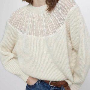 NWT Zara Lace Yoke Wool Blend Sweater in Cream S